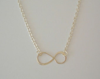 Infinity Necklace - Infinity Charm Suspended Chain Necklace, Bridesmaid Gifts