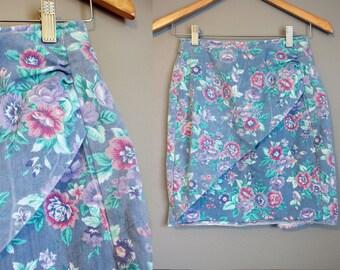 Floral Denim Skirt Vintage Jean Mini High Waist 1980s XS