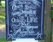 Fairytale Wedding Chalkboard Art Sign for you Wedding or event Sign  Unframed 16 x 20