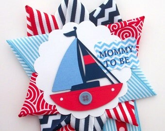 Nautical Baby Shower Corsage - Red, White, and Blue Sailboat -  Anchor Ahoy Mommy To Be Mum -  Ready To Ship