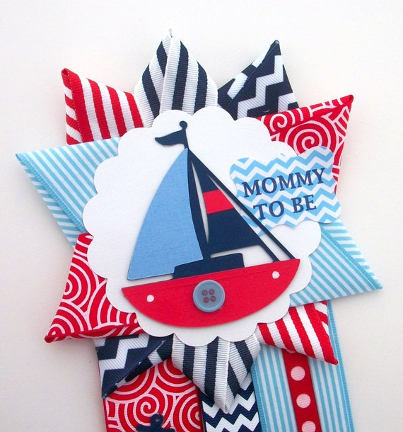 nautical baby shower corsage red white and blue sailboat anchor