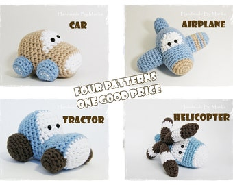 Crochet patterns amigurumi vehicles stuffed toys - car, airplane, tractor and helicopter - pdf tutorials in US English
