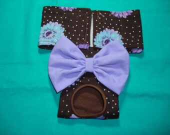 Female Dog Diaper / Panties - Brown With Teal and Lavender Flowers XXS - Medium