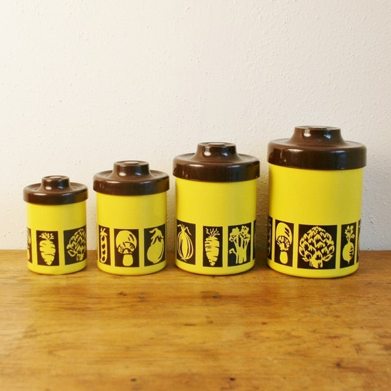 Vintage Set Of 4 Atapco Metal Kitchen Canisters Yellow And