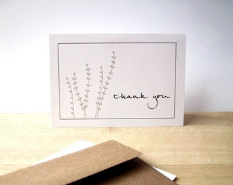 Botanical Thank You Cards - Slate Grey Garden Thank You Notes, Earthy Nature Leafy Thank You Card Set, White Grey Silhouette Note Cards