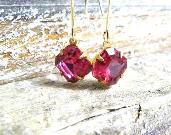 Swarovski Fuschia Dangle Earrings,  Gold Modern Earrings,  Handmade Jewelry