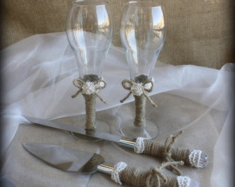 Wedding Cake Server Set 4 Pieces with Matching Toasting Glasses - Country Rustic Chic Wedding -   Cake Server Set And Toasting Glasses Set