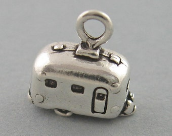 Small Sterling Silver 925 Charm Pendant 3D AIRSTREAM TRAILER Camper  2610