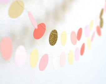 Blush, Gold, Coral and Cream Confetti Circles Garland