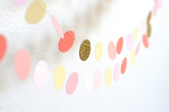 Blush, Gold, Coral and Cream Confetti Circles Garland