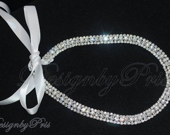 HPH 10 - Bridal Hairpiece Wedding Accessories. Wedding Headband Bridal Ribbon Rhinestone Headband - 3 Row  Rhinestone Ribbon Headband