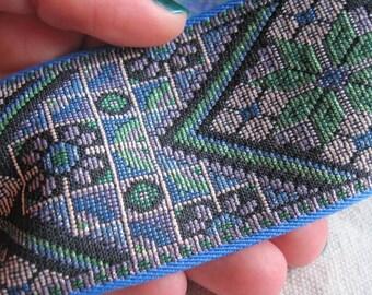 DIAMOND sparkle  on BLUE jacquard woven belting