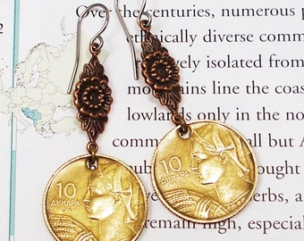 Yugoslavia, Vintage Coin Earrings - - Land of the South Slavs - - World Geography - Travel - Money - History - Upcycled