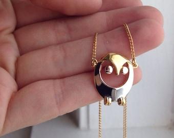Vintage Trifari Owl Necklace /  Two Tone