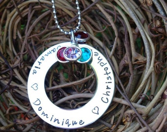 Personalized Mother's Hand stamped Necklace