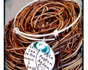 Personalized Hand Stamped Moon Bracelet