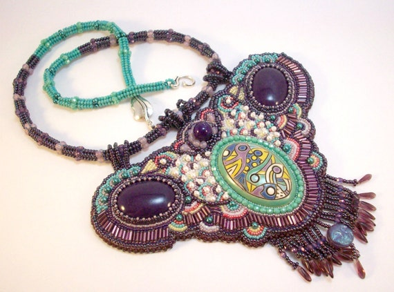 Purple and Aqua Bead Embroidered Necklace The Forest Has Eyes