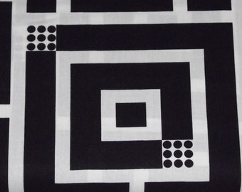 Benartex Kanvas - Op Art Reflections -Squared Black