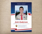 Eagle Scout Invitations Photo Card Red White and Blue
