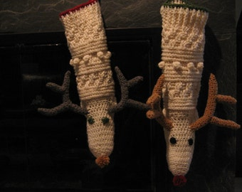 Reindeer Christmas Stocking - Cutest Ever -  special order for Lauren