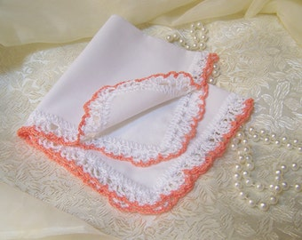 Lace Handkerchief, Hanky, Hankie, Hand Crochet, Ladies, Peach, Bridesmaids, Embroidered, Personalized, Monogrammed, Custom, Bouquet Wrap