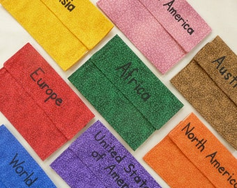 Montessori Material Fabric Pouches for Geography Labels (For Puzzle Maps) -  8 Pouches