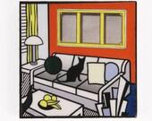 Black Cat Magnets, Cat Art, Roy Licjtenstein Parody, Refrigerator Magnet, Fridge Magnets, Kitchen Magnets, Cat Artwork, Deborah Julian