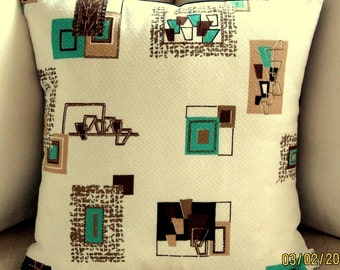 1950s Vintage Retro Barkcloth Pillow Cover - Turquoise, Dk Chocolate on White