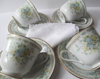Vintage Noritake Guild Collection Springlow Teacups and Saucers Set of Four