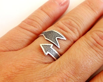 Steampunk Arrow Ring-  Sterling Silver Ox Finish