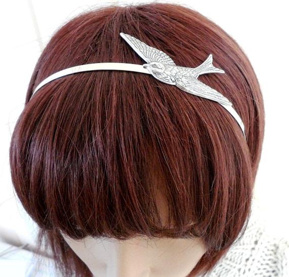 Steampunk Sparrow Headband- Metal Bird Headband- Silver Bird