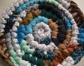 Handmade Crochet Kitchen Trivet / Fabric Pot Holder / Pan Holder in blue , teal , and browns