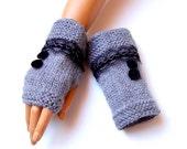 Hand Knit Gray Gloves, Mitten, WinterAccessories, Holiday Accessories, Armwarmer, Hand Knit Gray Gloves