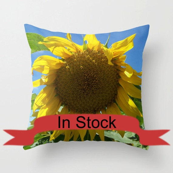 18x18 Sunflower Pillow Cover Yellow Decorative Pillows Country Home Decor Zippered Pillow Case Cushion Covers Handmade In Canada In Stock