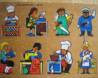 Puzzle, Occupations Theme, Wood Puzzle, Childs Puzzle, Toy,Jobs