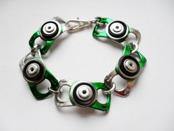 Recycled green ring pull, and black rubber inner tube riveted Bracelet