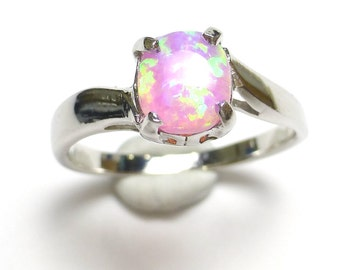 Opal Ring Size 7.75 Confetti Jelly Pink Synthetic Fire Orange Pinfire Oval Stacking Jewelry Gift Engagement Handmade Lisajoy Sachs Design