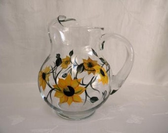 Pitcher,hand painted Pitcher, Pitcher with Sunflowers,serving pitcher-painted Sunflowers, painted pitcher with sunflowers, painted pitcher