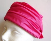 Vintage 60s Hot Pink Ruched Taffeta Slouchy Mod Ladies Hat