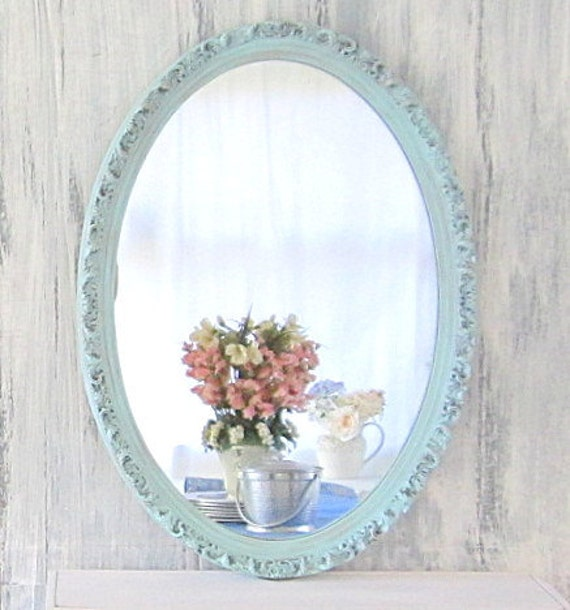 Decorative vintage mirrors oval mirror 26x18 for Teal framed mirror