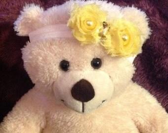 Yellow Shabby Rosette Headband
