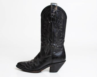 Vintage 70s Black Leather COWBOY BOOTS / 1970s Lizard Skin 8.5 38.5