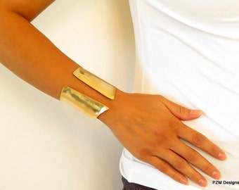 Brass Chevron Cuff, hand formed modern brass cuff, wide gold cuff