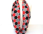 Double Sided Cotton Polka Dot Infinity Scarf Circle Scarf Loop Scarf Women Fashion Circle Scarf Red White Grey Black POLKA WALKA