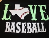 Love Glitter State Baseball Shirt--Featuring your state with baseball laces--Unique for supportig your favorite team