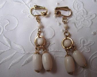 Vintage Gold Tone Dangle Style Milk Glass Clip On Earrings