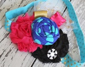 Build a Snowman- Anna Frozen inspired headband with snowflakes, glitter and tulle accents