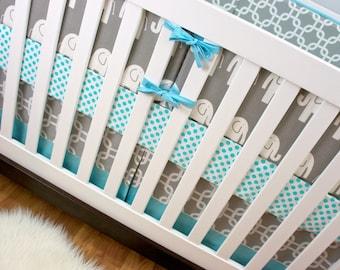 Crib Bedding, Aqua Gray Elephant Crib Bedding, Baby Bedding, Modern Nursery Custom Crib Set, Elephant Bumpers, Crib Skirt, Crib Sheet