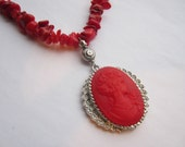 Free Shipping RED CAMEO PENDANT Valentines Day Cameo Necklace - Polished Red Stones - Red Necklace -