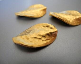 24k Gold Vermeil Leaf Bead Hammered Metal 22mm 17mm